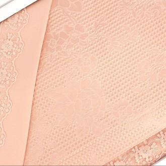 Постельное белье с вафельной простынью-покрывалом для укрывания (пике) Gelin Home NESLISAH ILKBAHAR хлопковый сатин deluxe (персиковый)