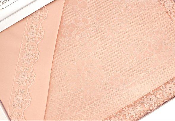 Комплект постельного белья с вафельной простынью-покрывалом для укрывания (пике) Gelin Home NESLISAH ILKBAHAR хлопковый сатин deluxe (персиковый) евро, фото, фотография