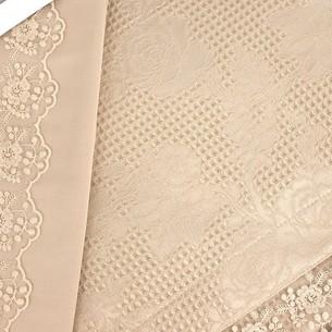 Постельное белье с вафельной простынью-покрывалом для укрывания пике Gelin Home NESLISAH ILKBAHAR хлопковый сатин deluxe шампань евро