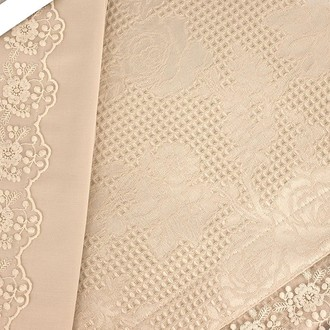 Постельное белье с вафельной простынью-покрывалом для укрывания (пике) Gelin Home NESLISAH ILKBAHAR хлопковый сатин deluxe (шампань)