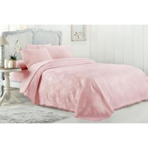 Постельное белье с вафельной простынью-покрывалом для укрывания пике Gelin Home MARCH хлопковый сатин deluxe розовый евро
