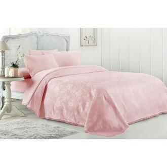 Постельное белье с вафельной простынью-покрывалом для укрывания (пике) Gelin Home MARCH хлопковый сатин deluxe (грязно-розовый)
