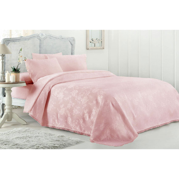 Комплект постельного белья с вафельной простынью-покрывалом для укрывания (пике) Gelin Home MARCH хлопковый сатин deluxe (розовый) евро, фото, фотография