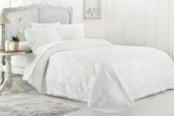 Комплект постельного белья с вафельной простынью-покрывалом для укрывания (пике) Gelin Home MARCH хлопковый сатин deluxe (кремовый) евро, фото, фотография