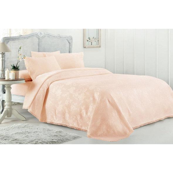 Комплект постельного белья с вафельной простынью-покрывалом для укрывания (пике) Gelin Home MARCH хлопковый сатин deluxe (персиковый) евро, фото, фотография