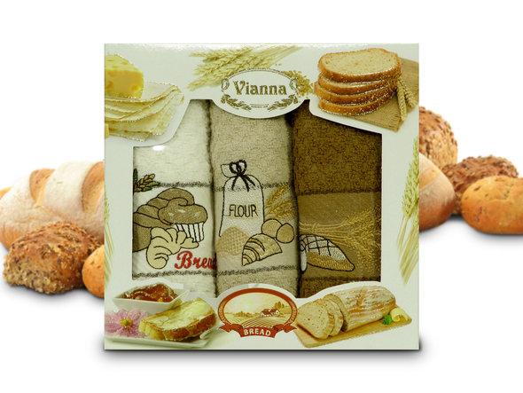 Набор кухонных полотенец 40*60(3) Vianna 8055 хлопковая махра (05), фото, фотография