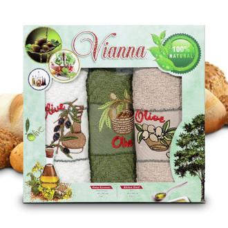 Набор кухонных полотенец 40*60(3) Vianna 8055 хлопковая махра (01)