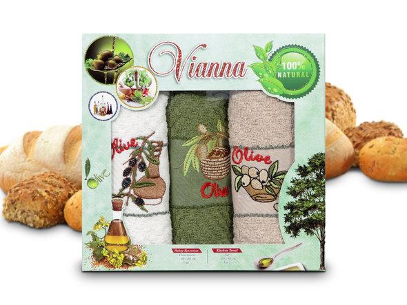 Набор кухонных полотенец 40*60(3) Vianna 8055 хлопковая махра (01), фото, фотография