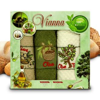Набор кухонных полотенец 40*60(3) Vianna 8055 хлопковая махра (06)