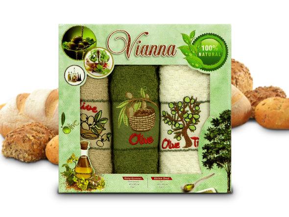 Набор кухонных полотенец 40*60(3) Vianna 8055 хлопковая махра (06), фото, фотография