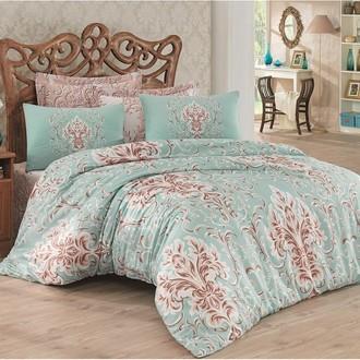 Комплект постельного белья Cotton Box SATEN SEVGI хлопковый сатин (бирюзовый+бежевый)