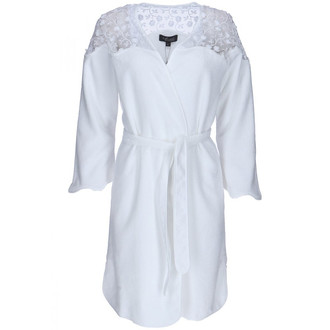 Халат женский Soft Cotton ROSELLA хлопковая махра белый