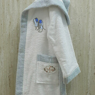 Халат детский Volenka КЕДЫ хлопковая махра (белый+светло-голубой)