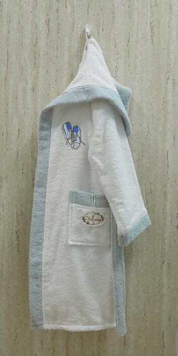 Халат детский Volenka КЕДЫ хлопковая махра (белый+светло-голубой) 14-16 лет, фото, фотография