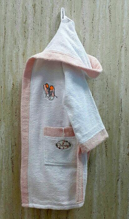 Халат детский Volenka КЕДЫ хлопковая махра (белый+светло-розовый) 14-16 лет, фото, фотография