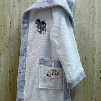 Халат детский Volenka КЕДЫ хлопковая махра (белый+светло-серый)