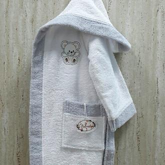 Халат детский Volenka МИШКА хлопковая махра (белый+светло-серый)