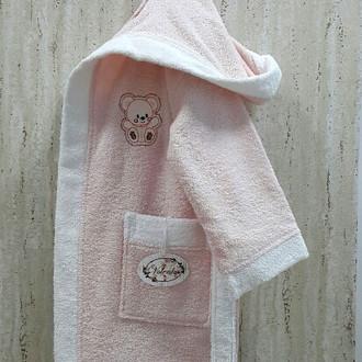 Халат детский Volenka МИШКА хлопковая махра (светло-розовый+белый)