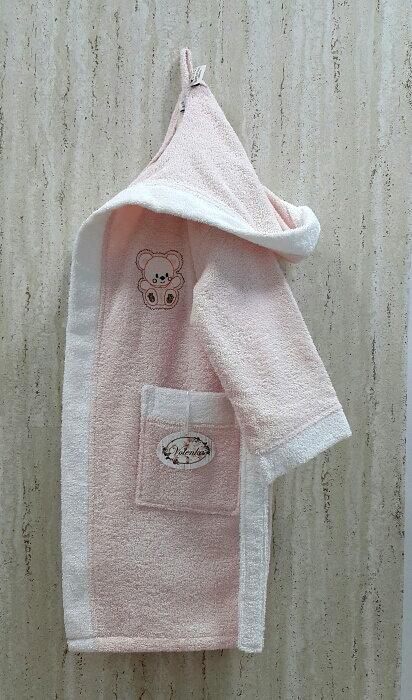 Халат детский Volenka МИШКА хлопковая махра (светло-розовый+белый) 6-8 лет, фото, фотография