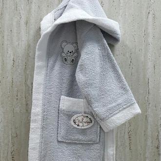 Халат детский Volenka МИШКА хлопковая махра (светло-серый+белый)
