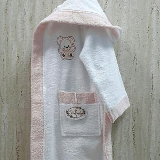 Халат детский Volenka МИШКА хлопковая махра (белый+светло-розовый)