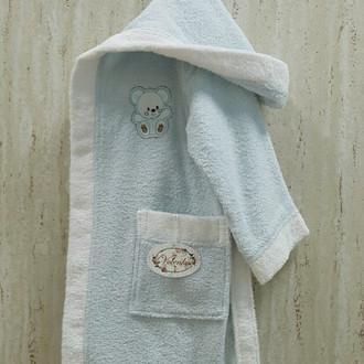 Халат детский Volenka МИШКА хлопковая махра (светло-голубой+белый)