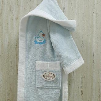 Халат детский Volenka УТЁНОК хлопковая махра светло-голубой+белый