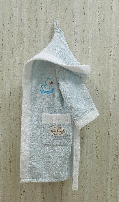 Халат детский Volenka УТЁНОК хлопковая махра (светло-голубой+белый) 2-4 года, фото, фотография