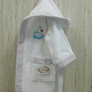 Халат детский Volenka УТЁНОК хлопковая махра белый+светло-серый 2-4 года