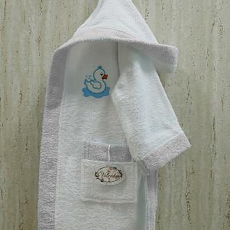 Халат детский Volenka УТЁНОК хлопковая махра белый+светло-серый