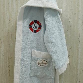 Халат детский Volenka ЮНГА хлопковая махра светло-голубой+белый