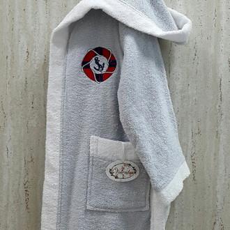 Халат детский Volenka ЮНГА хлопковая махра (светло-серый+белый)