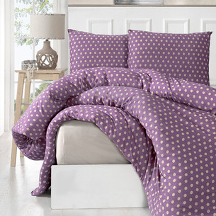 Постельное белье Karna YUMSE хлопковый трикотаж фиолетовый 1,5 спальный