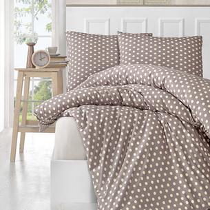 Постельное белье Karna YUMSE хлопковый трикотаж кофейный 1,5 спальный