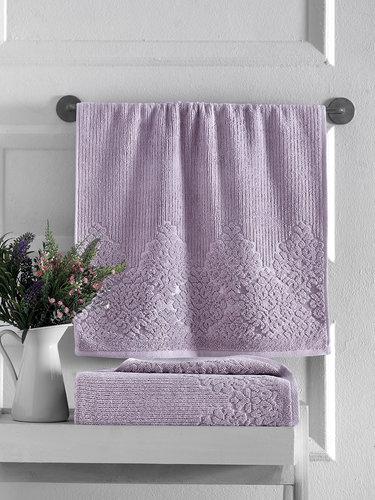 Полотенце для ванной Karna VERDA хлопковая махра светло-лавандовый 40х60, фото, фотография