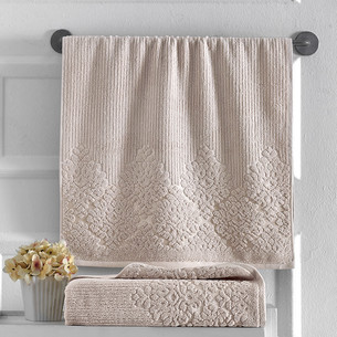 Полотенце для ванной Karna VERDA хлопковая махра бежевый 50х90