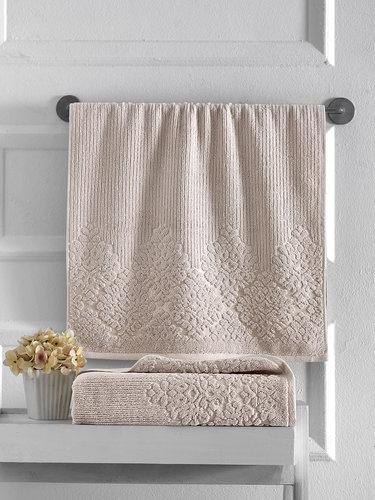 Полотенце для ванной Karna VERDA хлопковая махра бежевый 50х90, фото, фотография