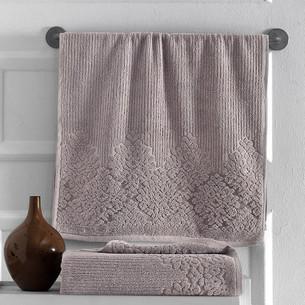 Полотенце для ванной Karna VERDA хлопковая махра кофейный 40х60