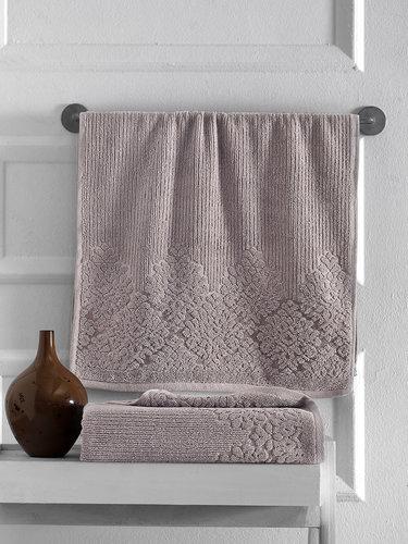Полотенце для ванной Karna VERDA хлопковая махра кофейный 40х60, фото, фотография