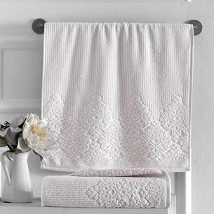 Полотенце для ванной Karna VERDA хлопковая махра кремовый 90х150