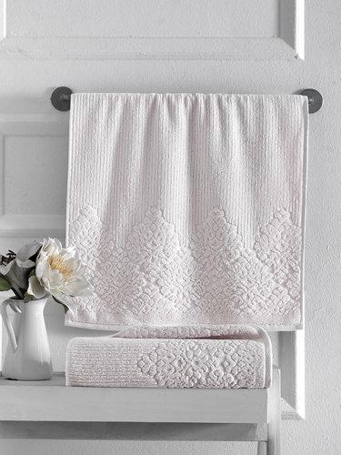Полотенце для ванной Karna VERDA хлопковая махра кремовый 40х60, фото, фотография