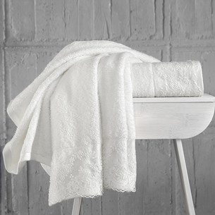 Подарочный набор полотенец для ванной 50х90 2 шт. Karna ELINDA хлопковая махра кремовый+кремовый
