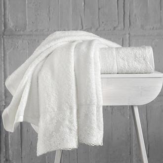 Подарочный набор полотенец для ванной 50*90(2) Karna ELINDA хлопковая махра (кремовый+кремовый)