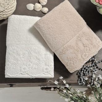 Подарочный набор полотенец для ванной 50х90 2 шт. Karna ELINDA хлопковая махра кремовый+бежевый
