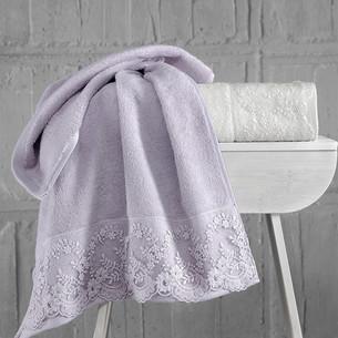 Подарочный набор полотенец для ванной 50х90 2 шт. Karna ELINDA хлопковая махра кремовый+светло-лавандовый