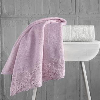 Подарочный набор полотенец для ванной 50*90(2) Karna ELINDA хлопковая махра (кремовый+пудра)