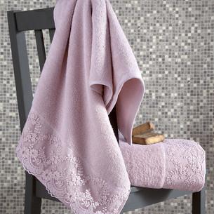 Подарочный набор полотенец для ванной 50х90, 70х140 Karna ELINDA хлопковая махра пудра