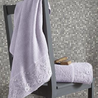 Подарочный набор полотенец для ванной 50*90, 70*140 Karna ELINDA хлопковая махра (светло-лавандовый)