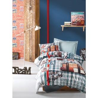 Комплект подросткового постельного белья Cotton Box GIRLS & BOYS AIR TRAVEL хлопковый ранфорс (голубой+зелёный)