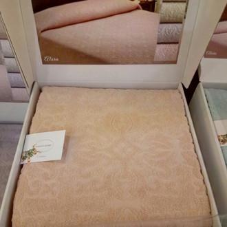 Махровая простынь-покрывало для укрывания Tivolyo Home ALORA хлопок (персиковый)